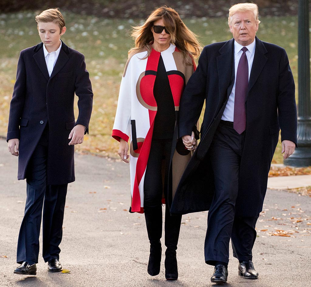 Donald Trump, Melania Trump, Barron Trump. President Donald Trump accompanied by first lady Melania Trump, and their son Barron, left, walks towards Marine One on the South Lawn of the White House in Washington, for a short trip to Andrews Air Force Base, Md., and then on to Palm Beach Fla., and Mar-a-Lago for ThanksgivingTrump, Washington, USA - 20 Nov 2018