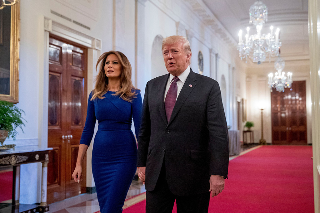 President Donald Trump and first lady Melania Trump arrive for a Medal of Freedom ceremony in the East Room of the White House in WashingtonTrump Medal of Freedom, Washington, USA - 16 Nov 2018