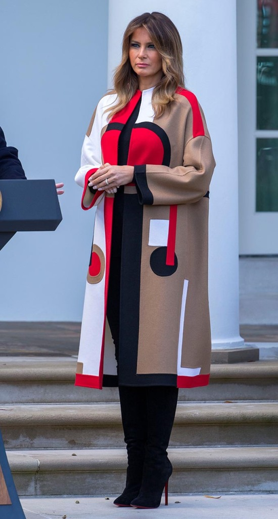 First Lady Melania Trump participates in the pardoning of the National Thanksgiving Turkey 'Peas' in the Rose Garden of the White House in Washington, DC, USA, 20 November 2018. Following it's pardon the National Thanksgiving Turkey will reside at Gobbler's Rest on the campus of Virginia Tech.US President Donald J. Trump participates in the pardoning of the National Thanksgiving Turkey, Washington, USA - 20 Nov 2018