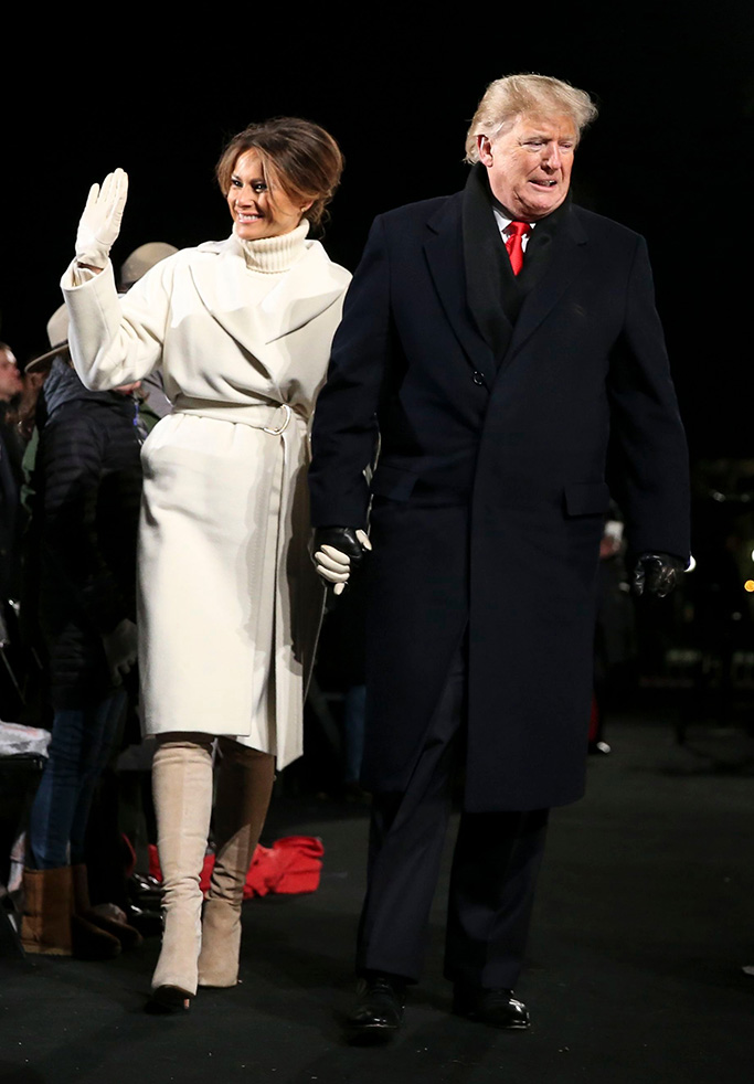 max mara, United States President Donald J. Trump with first lady Melania Trump walk back to the stage during the 2018 National Christmas Tree lighting ceremony at the Ellipse near the White House in Washington, DC.National Christmas Tree lighting, Washington DC, USA - 28 Nov 2018