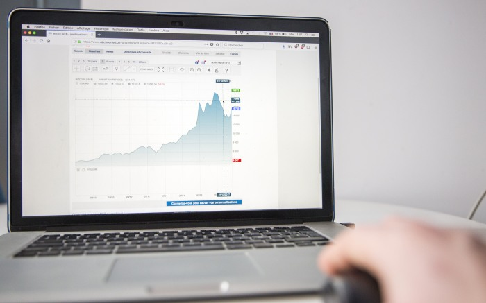 Laptop showing cryptocurrency, the more popular blockchain
