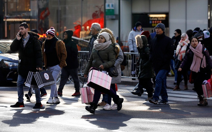 Bargain hunters seek low price deals during 'Black Friday' holiday shopping in New York, New York, USA, 23 November 2018. Black Friday is the day after the USA Thanksgiving Day and is regarded as the start of the Christmas shopping season.Black Friday holiday shopping in New York, USA - 23 Nov 2018