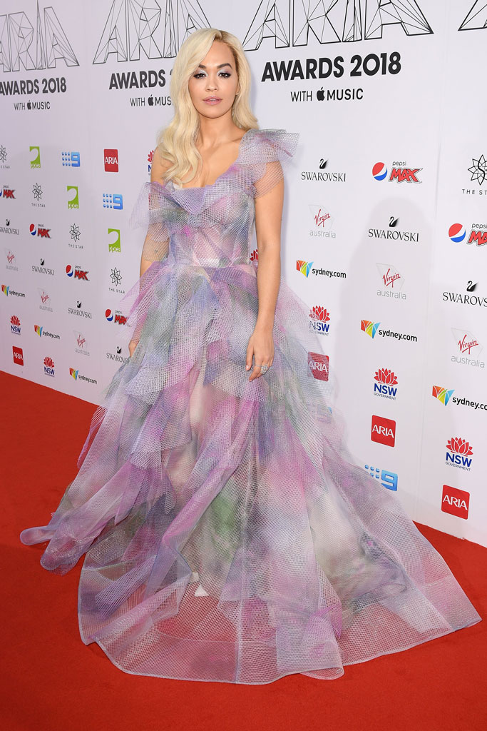 rita ora, red carpet, marchesa, gown, aria awards, australia