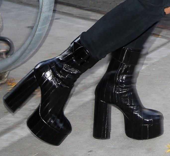 rita ora, saint laurent fall 2018 billy eel platform boots