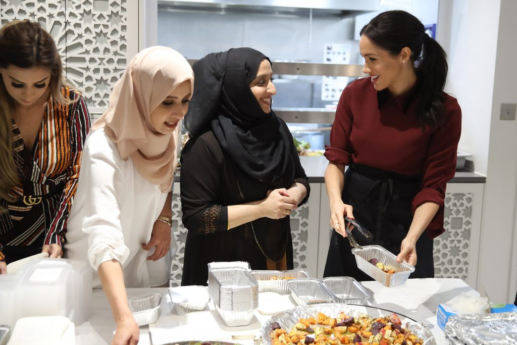 Meghan Duchess of Sussex visits the Hubb Community Kitchen to see how funds raised by the 'Together: Our Community' Cookbook are making a difference at Al Manaar, North KensingtonMeghan Duchess of Sussex visit to the Hubb Community Kitchen, London, UK - 21 Nov 2018