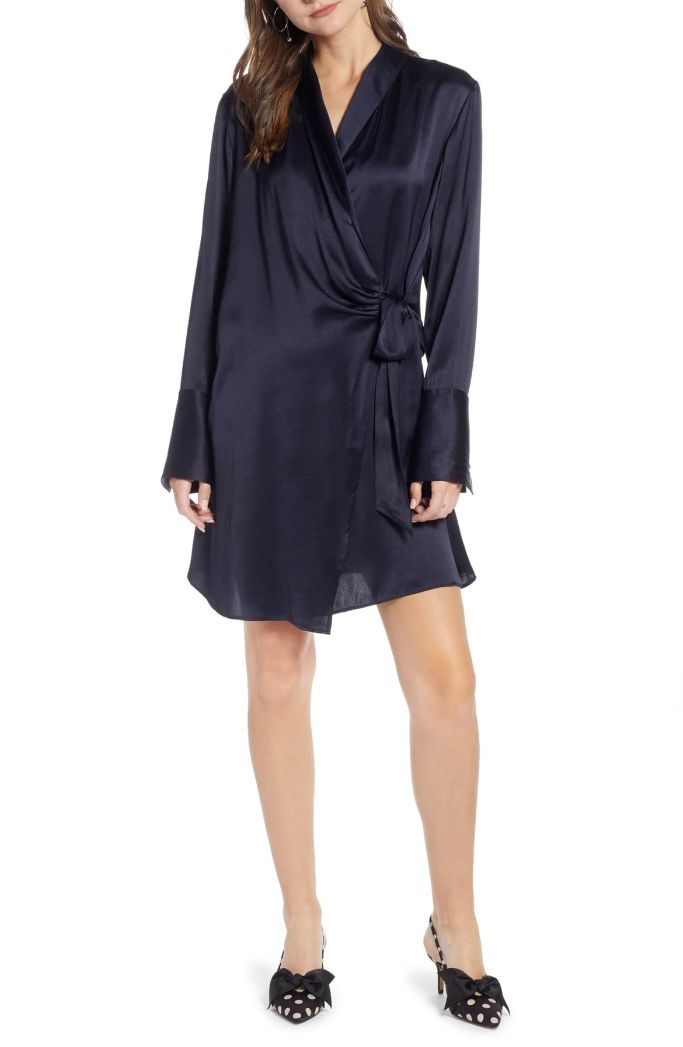 Something Navy Tie Front Dress