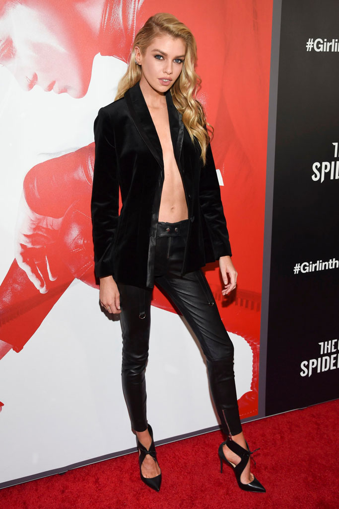 Stella Maxwell, red carpet, leather pants, blazer, shirtless, pumps, The Girl in the Spider's Web: A New Dragon Tattoo Story, film screening, nyc