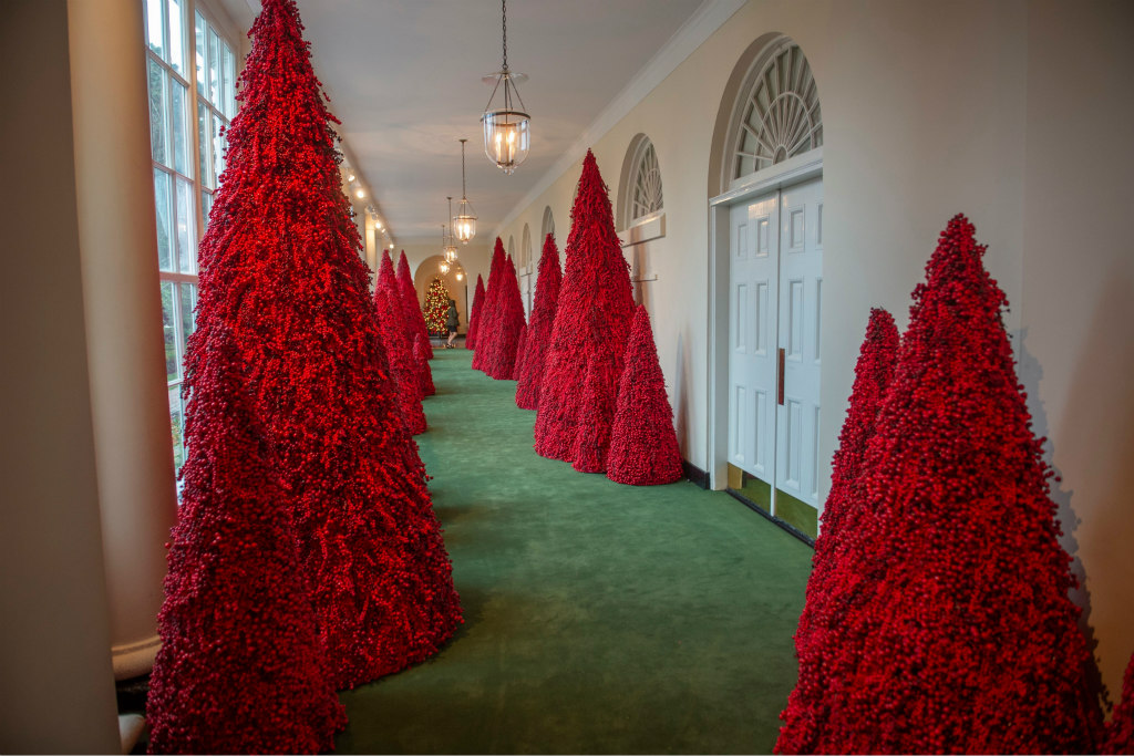 white house red christmas trees