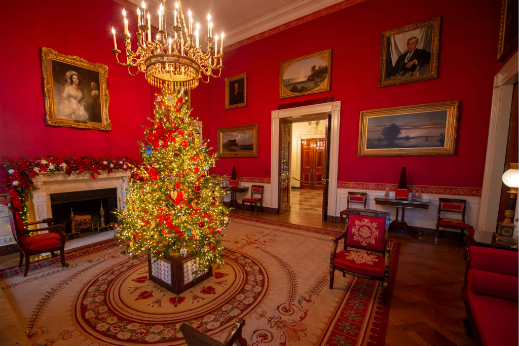 White house christmas trees, decorations