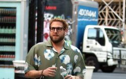 Actor Jonah Hill walks in Greenwich