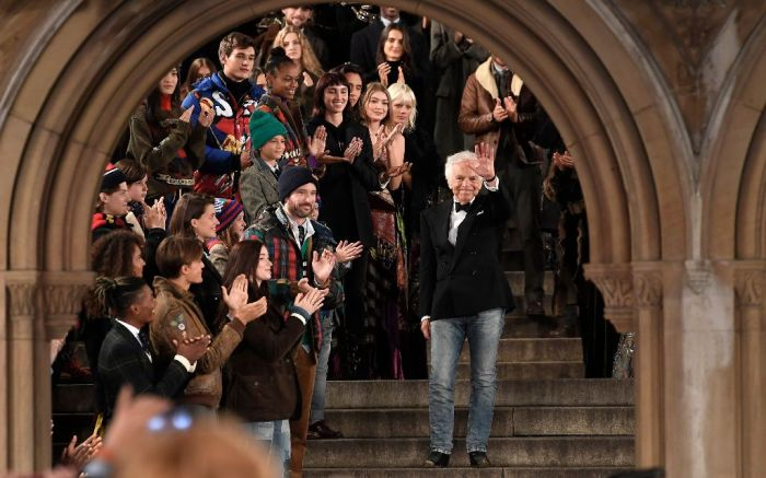 Ralph Lauren takes a bow at the finale of his spring '19 show celebrating the 50th anniversary of his iconic Polo brand.