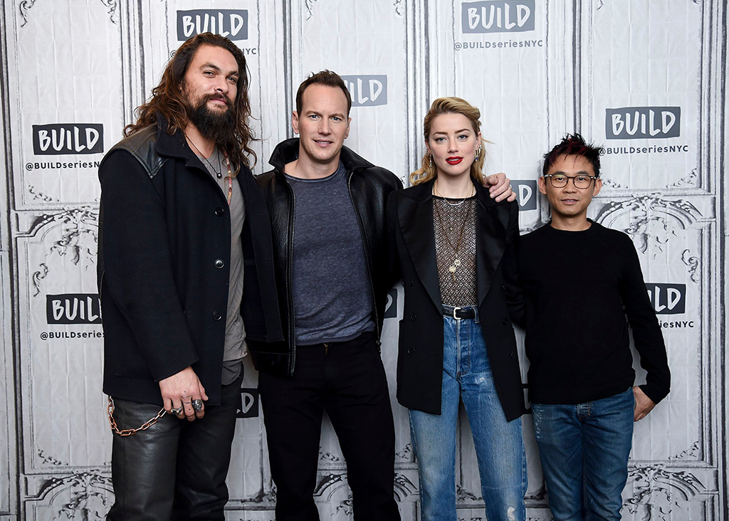 "Jason Momoa, Patrick Wilson, Amber Heard, James Wan. Actors Jason Momoa, from left, Patrick Wilson and Amber Heard pose with director James Wan backstage at the BUILD Speaker Series to discuss the film ""Aquaman"" at AOL Studios, in New YorkBUILD Speaker Series: ""Aquaman"" Cast, New York, USA - 03 Dec 2018"