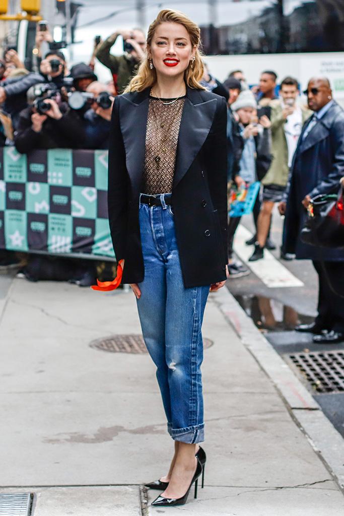 Amber Heard, saint laurent pumps, Build Speaker Series, New York, USA - 03 Dec 2018Wearing Bella Freud, Jacket