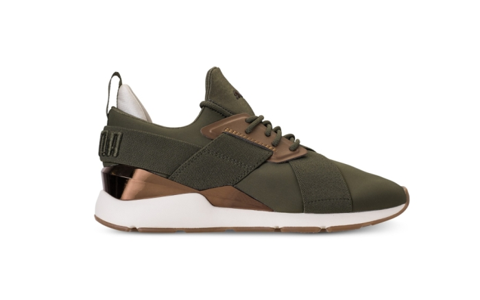 Puma Muse Metallic best olive green sneakers
