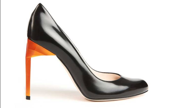 Bettina Vermillon 105 Jazz pump with copper facet heel. .