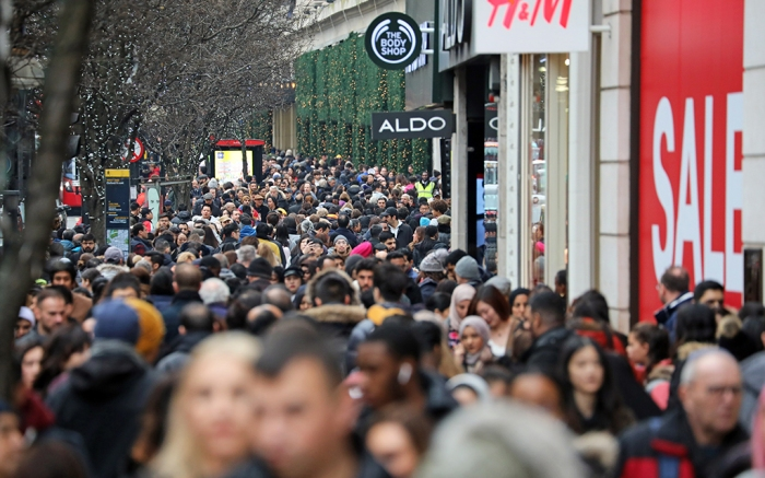 Boxing Day shoppers in London