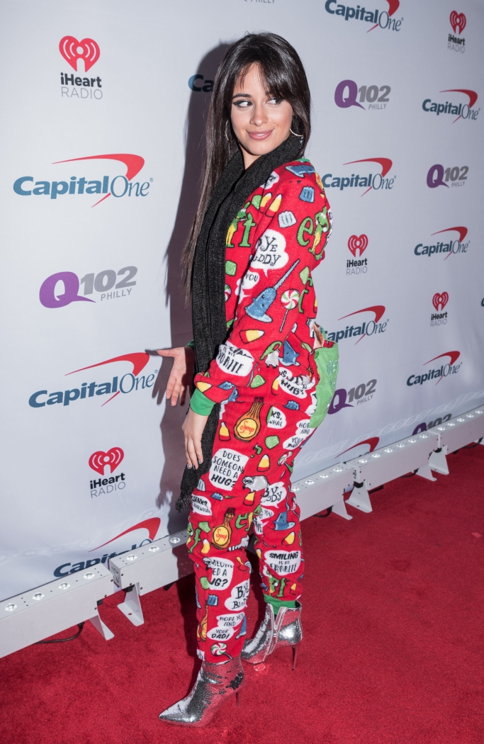 Camila Cabello jingle ball, sequined boots, elf christmas onesie