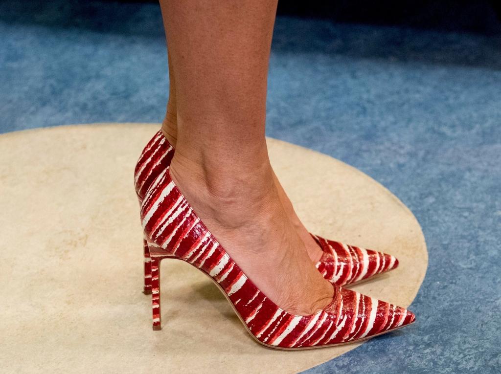 candy cane shoes, melania trump