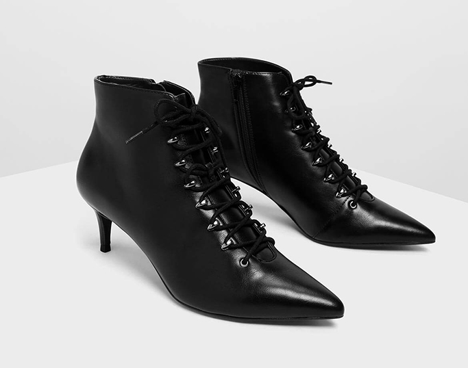Charles & Keith Speed Lacing Detail Pointed Boot
