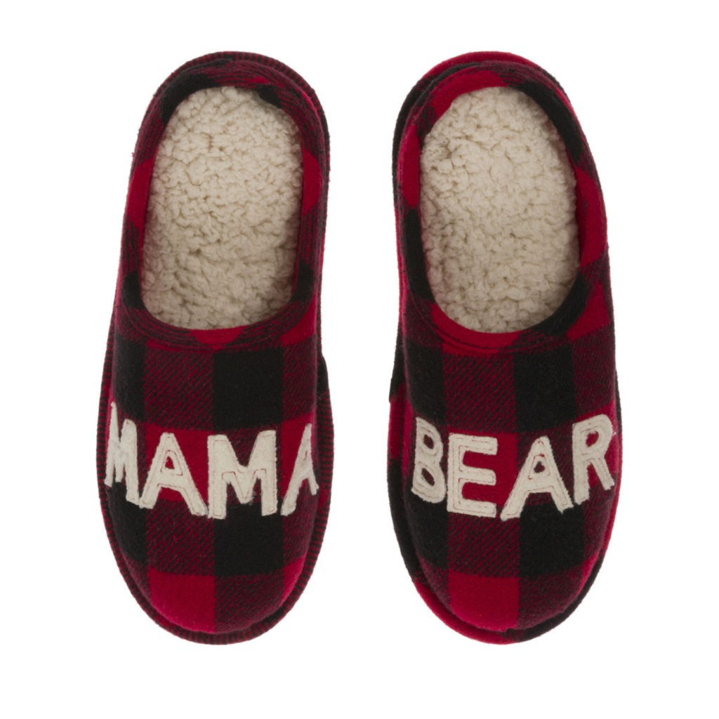 Dearfoams Mama Bear Buffalo Check Clog Slipper