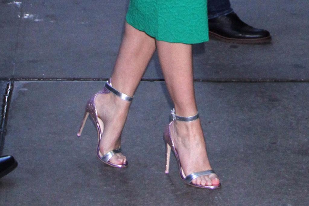 emily blunt, silver heels