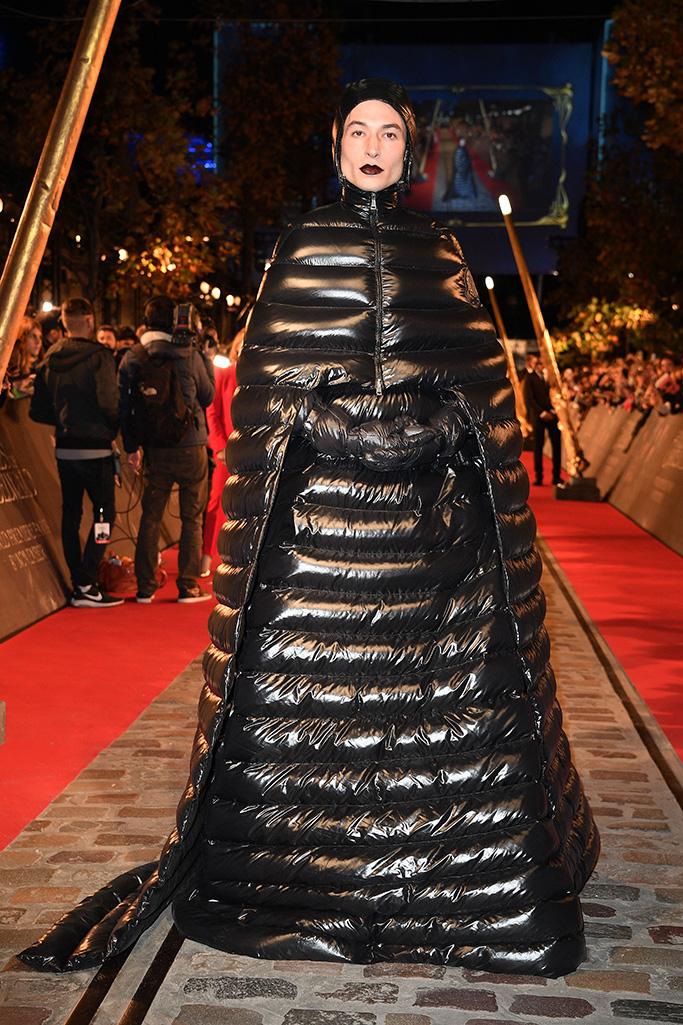 Ezra Miller'Fantastic Beasts: The Crimes of Grindelwald' film premiere, Paris, France - 08 Nov 2018 Wearing Moncler x Pierpaolo Piccioli