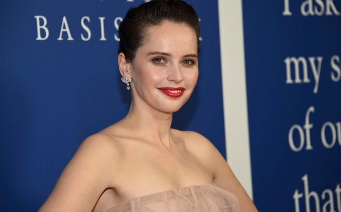 Felicity Jones, red carpet, dior gown, on the basis of sex