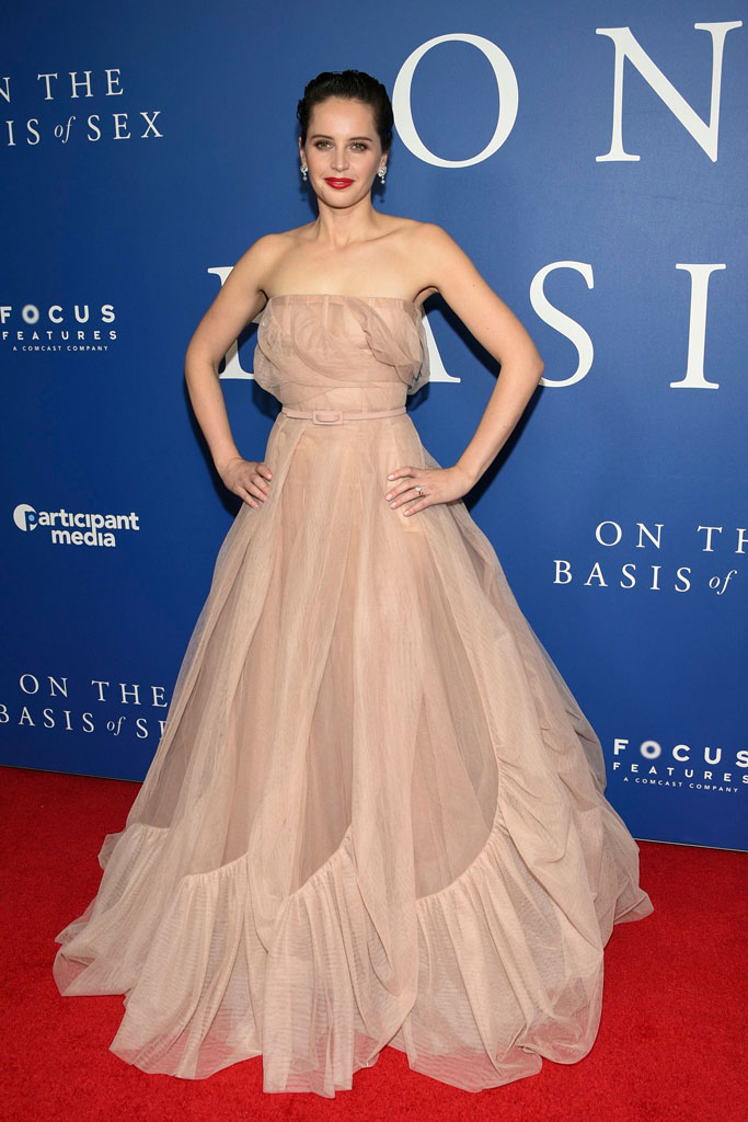 felicity jones, red carpet, on the basis of sex, dior