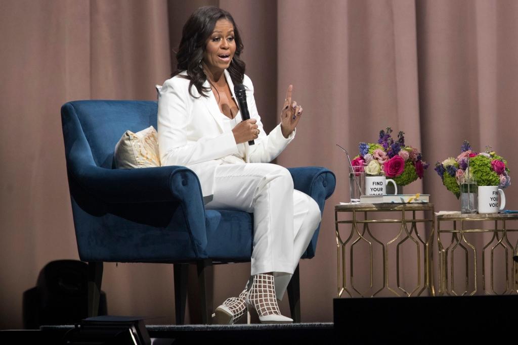 michelle obama, book tour, jimmy choo sheldon boots