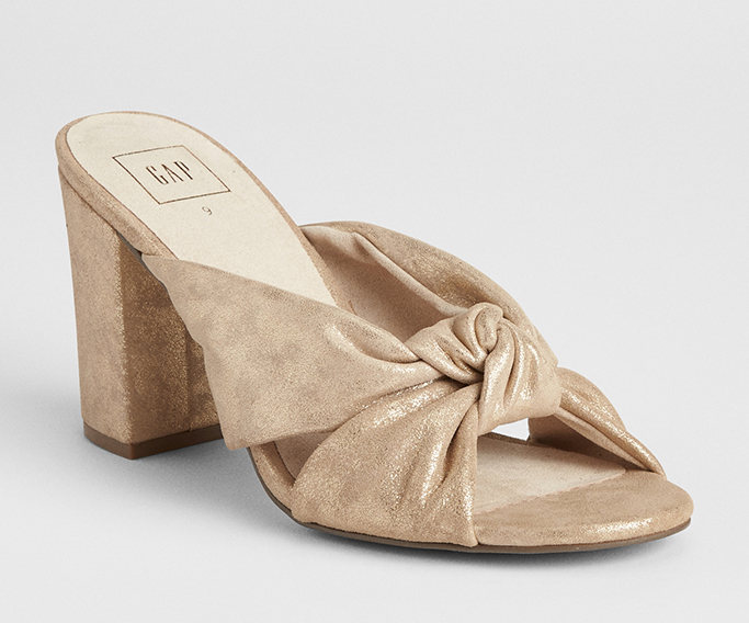 Knotted Strap Block Heel Mules