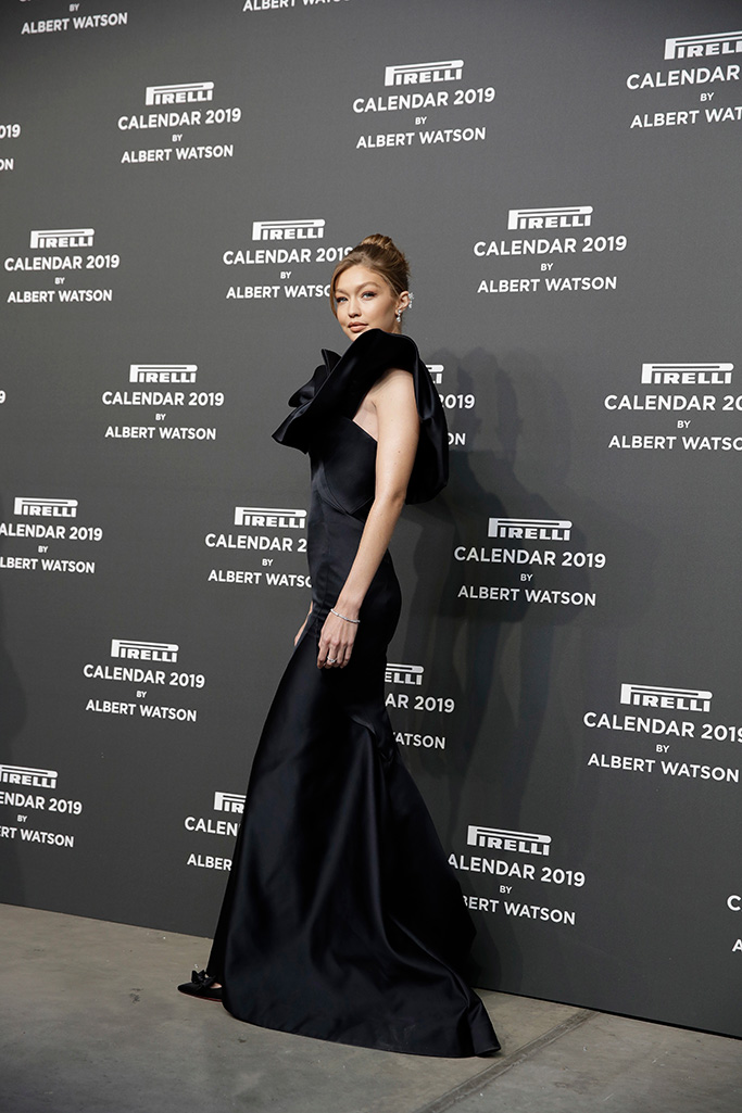 Model Gigi Hadid poses on the red carpet at the unveiling 2019 Pirelli Calendar event in Milan, ItalyPirelli Calendar, Milan, Italy - 05 Dec 2018 Wearing Zac Posen