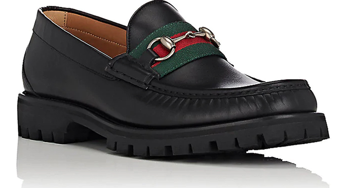 Gucci Web-Striped Horse-Bit Leather Loafers
