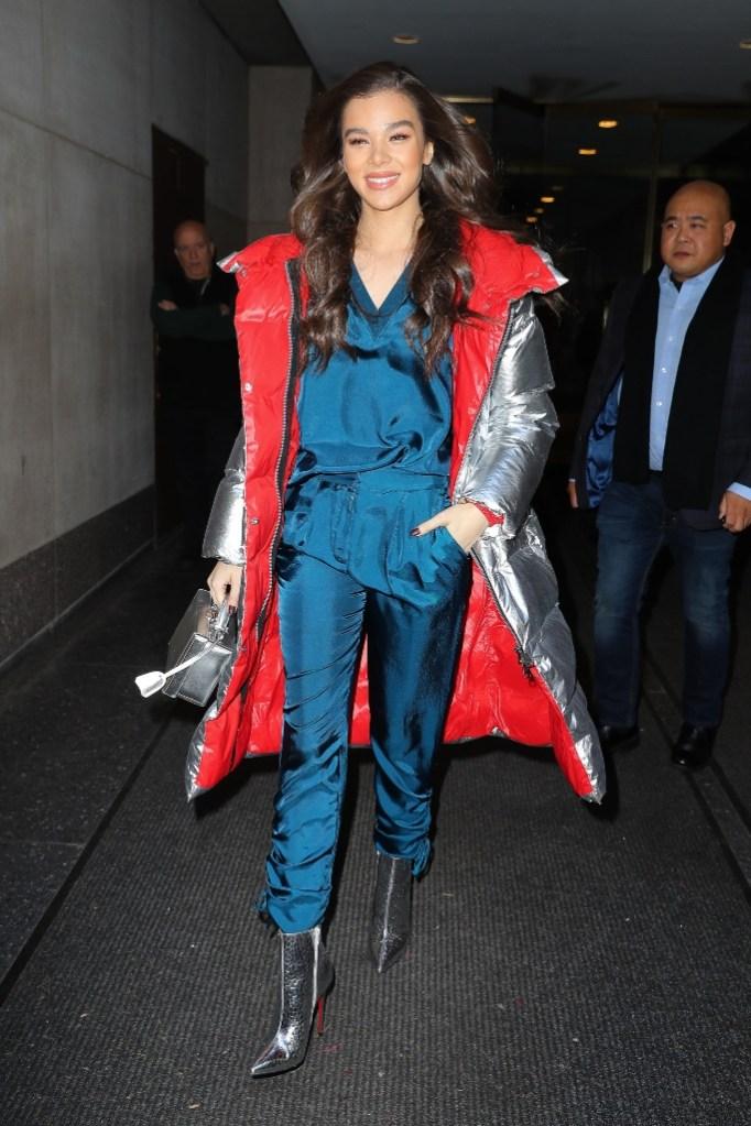 hailee steinfeld, louboutin, silver jacket