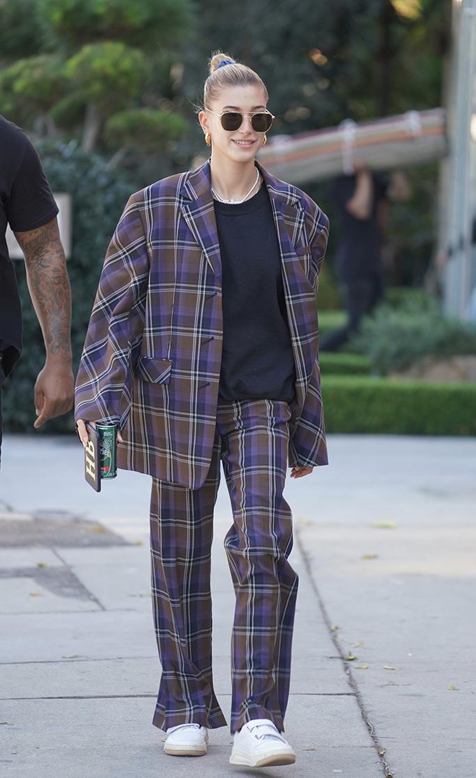 Hailey Baldwin, power suit, sneakers