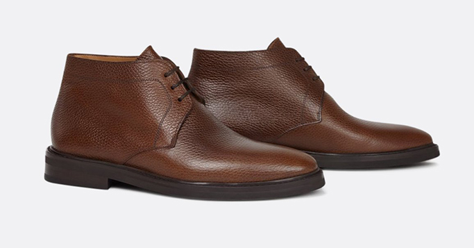 jack Erwin James Leather Rubber Sole Chukka Boot
