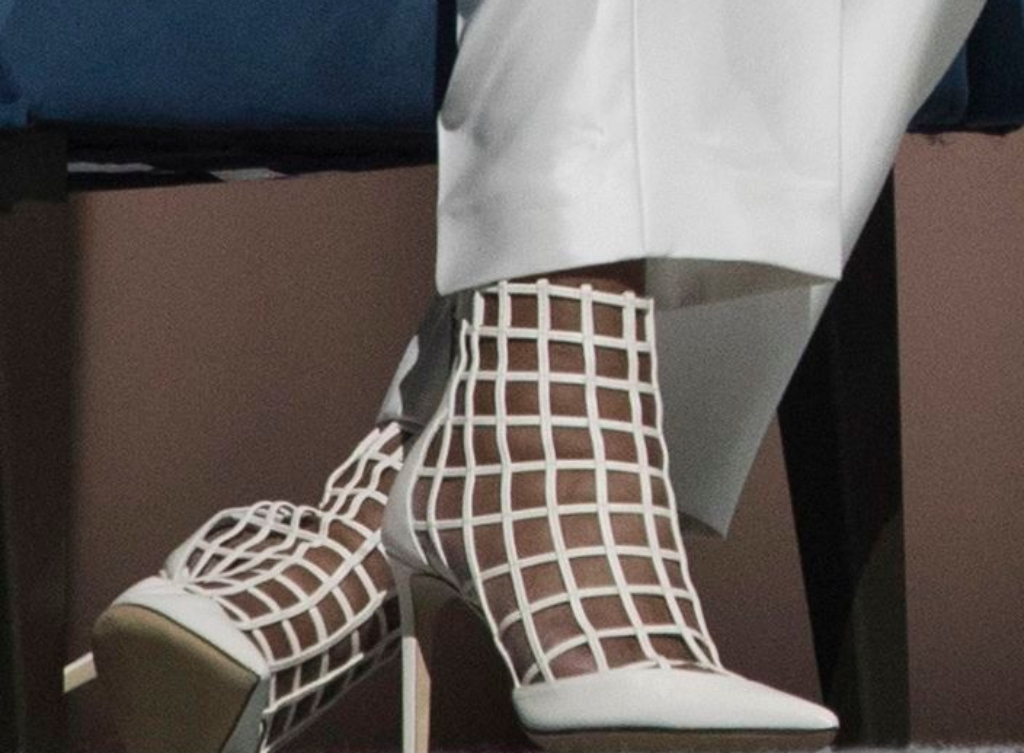 Michelle Obama wearing Jimmy Choo's Sheldon boot