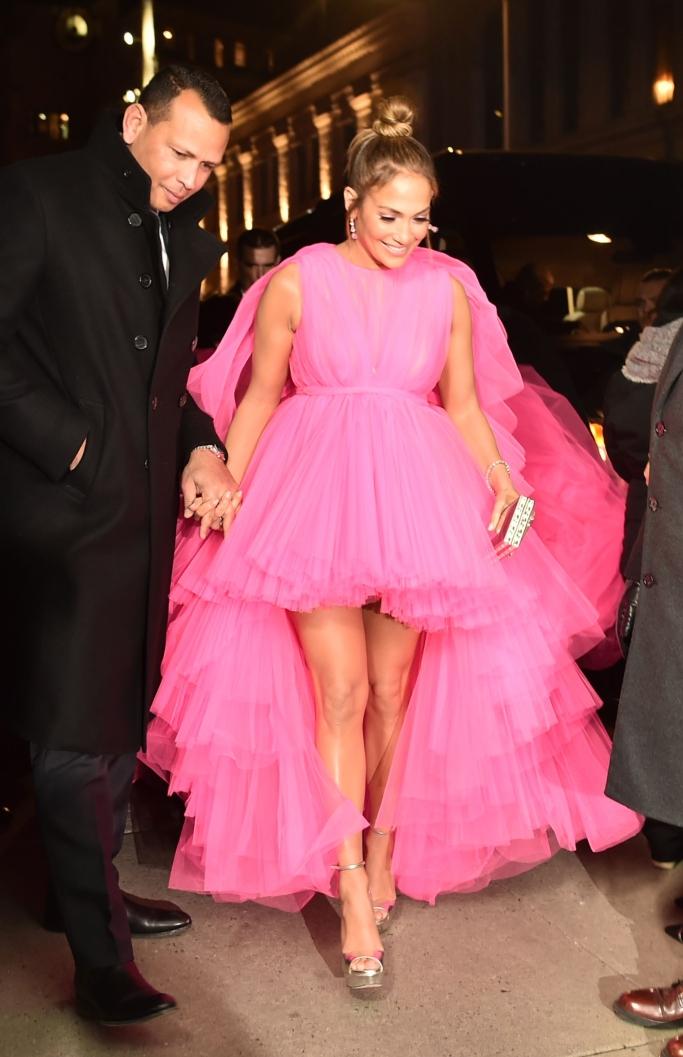 Jennifer Lopez and Alex Rodriguez, second act premiere, Giambattista Valli Fall 2018 Couture, jimmy choo max platforms