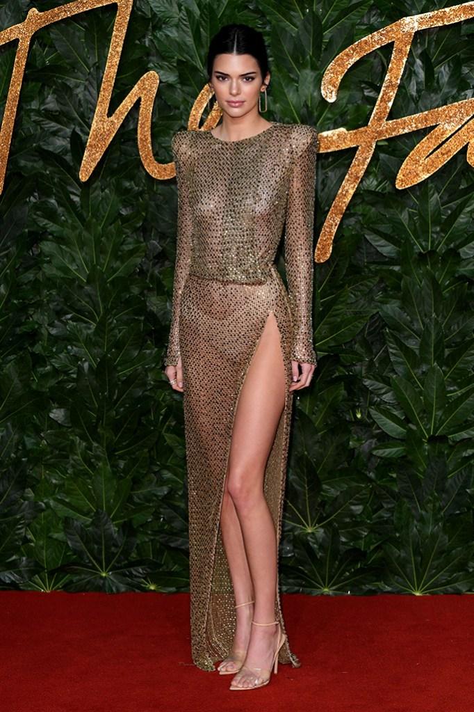 Kendall Jenner, see-through, sheer, The British Fashion Awards, Arrivals, Royal Albert Hall, London, UK - 10 Dec 2018