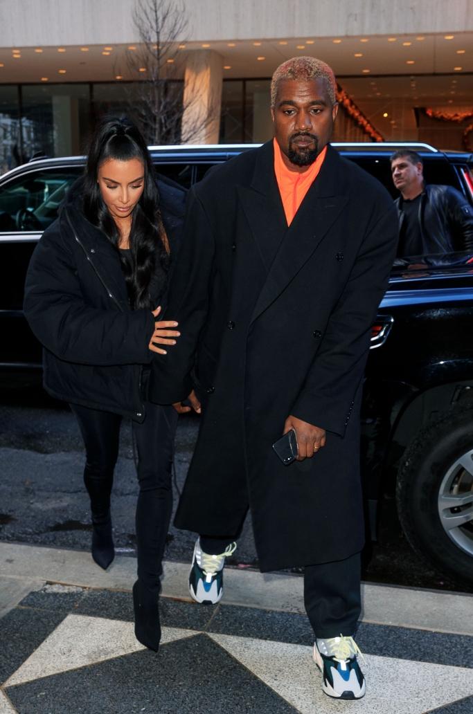 kim kardashian, kanye west, street style, balenciaga pantashoes, yeezy 700, yeezy puffer jacket