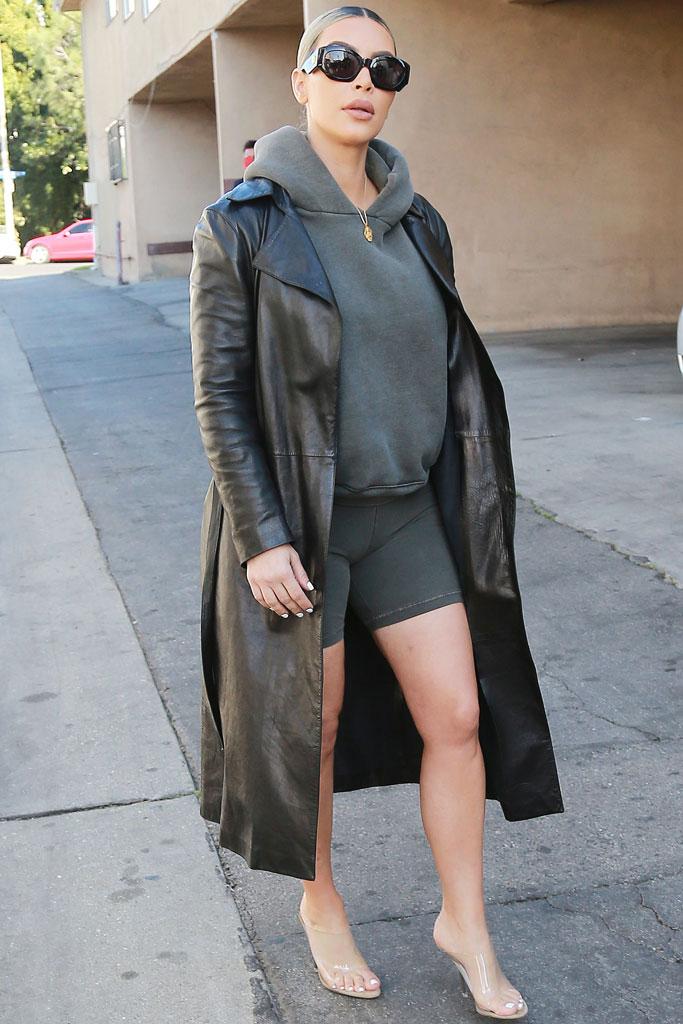 Kim Kardashian, bike shorts, celebrity style, yeezy, gucci, fashion