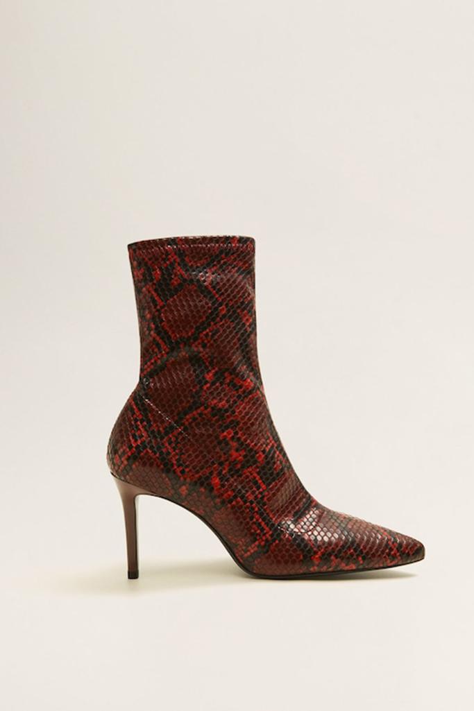 snakeskin boots, mango