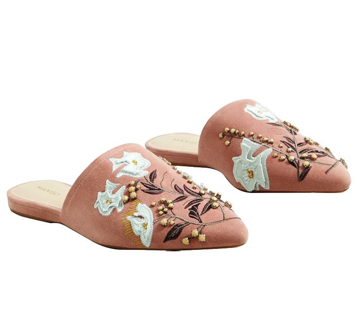 MangoEmbroidered Slingback Shoes