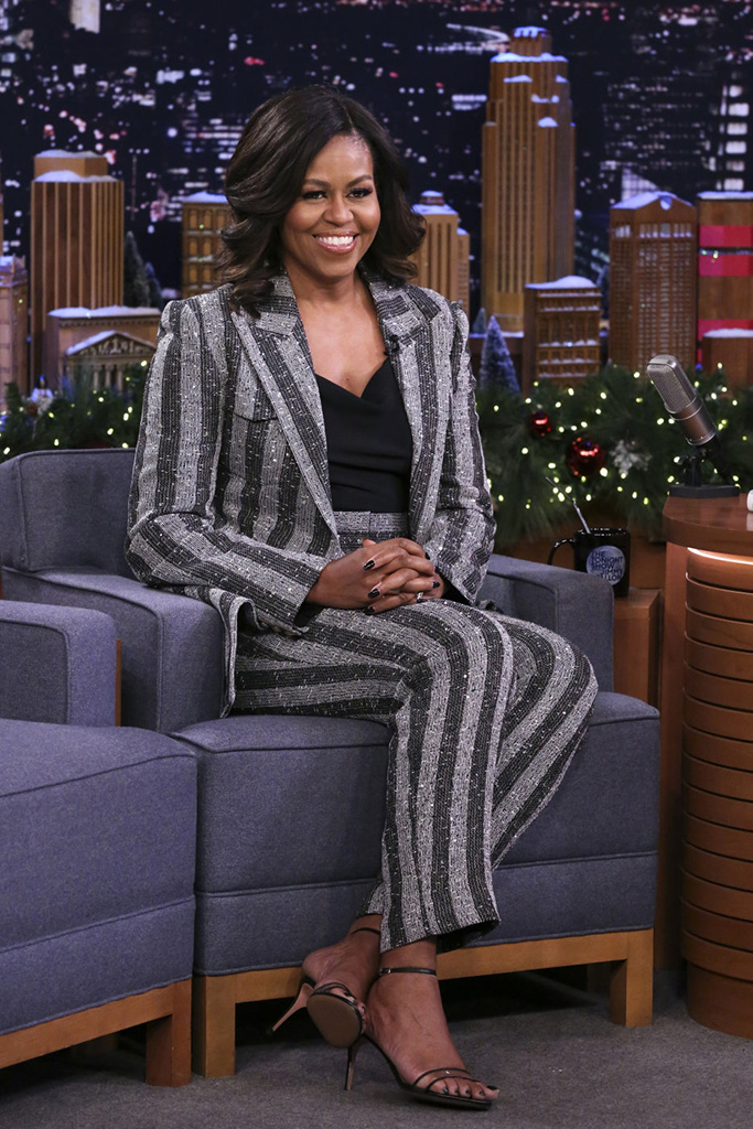 THE TONIGHT SHOW STARRING JIMMY FALLON -- Episode 0984 -- Pictured: Michelle Obama during an interview on December 18, 2018 -- (Photo by: Andrew Lipovsky/NBC/NBCU Photobank)