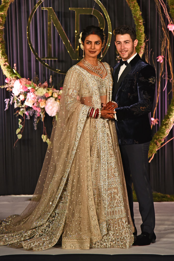 priyanka chopra, wedding, nick jonas, new delhi, india, sparkly dress, reception, party