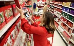 Target employee Lindsay Walker scans an