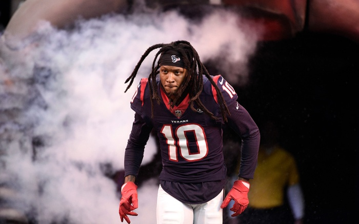 Houston Texans wide receiver DeAndre Hopkins (10) is introduced before an NFL football game, in HoustonColts Texans Football, Houston, USA - 09 Dec 2018
