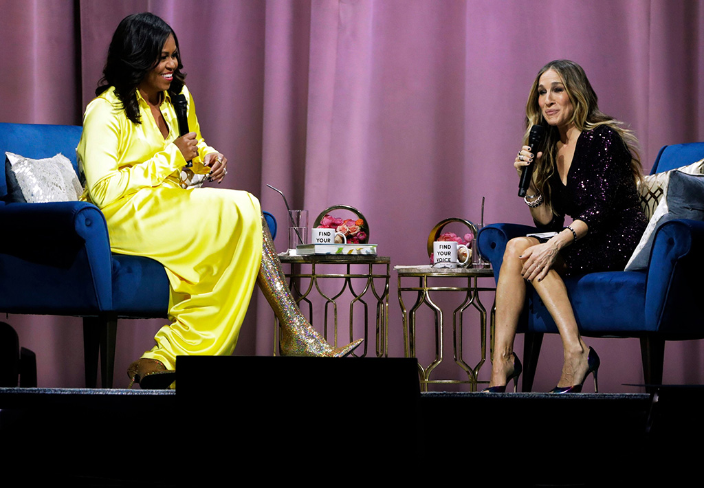 "Former first lady Michelle Obama, left, is interviewed by Sarah Jessica Parker during an appearance for her book, ""Becoming: An Intimate Conversation with Michelle Obama"" at Barclays Center, in New YorkMichelle Obama Book Tour, New York, USA - 19 Dec 2018"