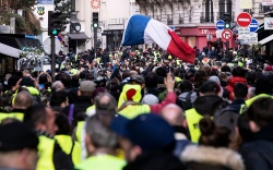 Protesters gather during a 'Yellow Vest'