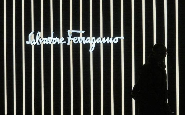 A pedestrian walks past a Salvatore Ferragamo store window, late 07 November 2017 in Frankfurt, Germany.Frankfurt economy, Frankfurt Am Main, Germany - 07 Nov 2017