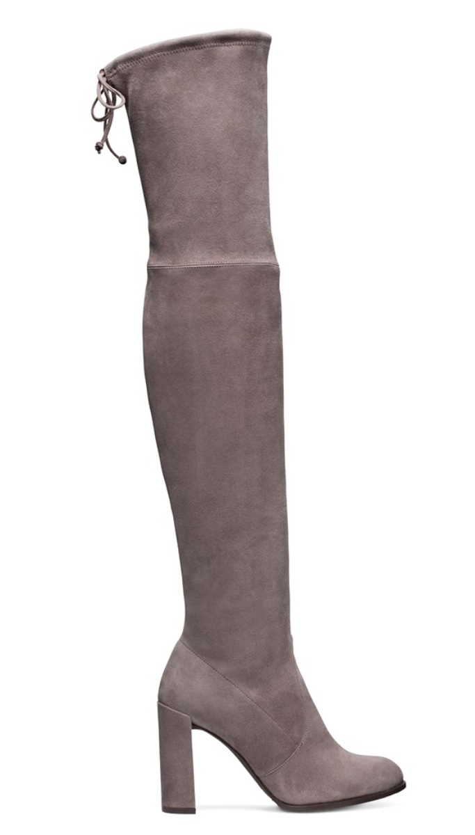 Stuart Weitzman Londra Gray Suede Hiline Boots